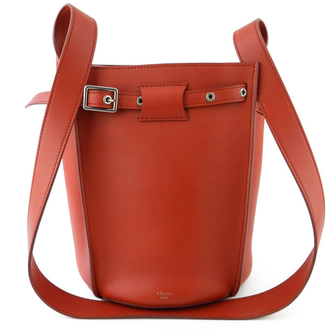 Celine Red Leather Long Strap Bucket Bag
