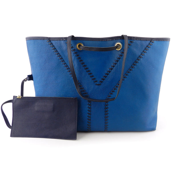 YSL Yves Saint-Laurent Reversible Blue Leather Y-Tote