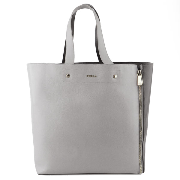 Furla Two-Tone Grey Musa Expandable Leather Tote
