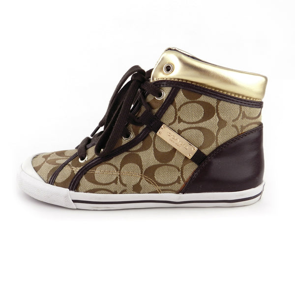 Coach Signature Canvas High Top Sneakers sz 7