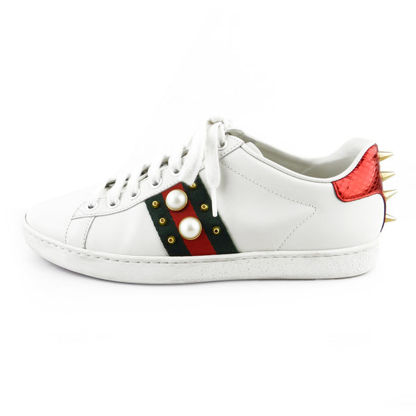 Gucci Ace Embellished Striped White Leather Sneakers sz 37 / 7