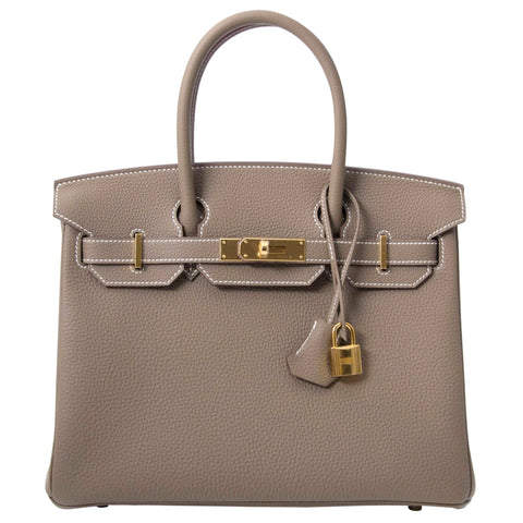 Hermes Birkin 30 Etoupe Togo Leather Bag