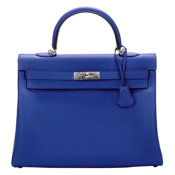 Hermes Kelly Retourne 35 Electric Blue Togo Leather Satchel