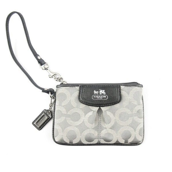 Coach Canvas Wristlet Clutch Pewter/Gray