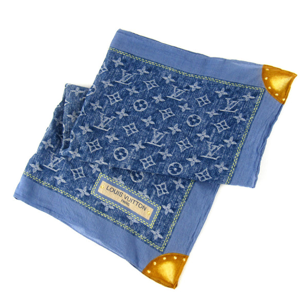 Louis Vuitton Silk Monogram Blue Demin Scarf
