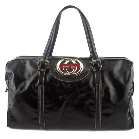 Gucci Patent Leather GG Duffle Shoulder Bag