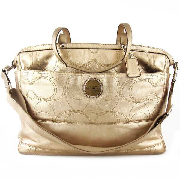 Coach Embossed Gold Leather Travel & Diaper Tote