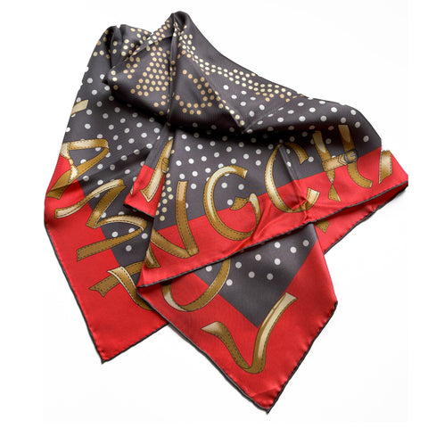 Longchamp Signature Horse Bust Dotted Silk Scarf