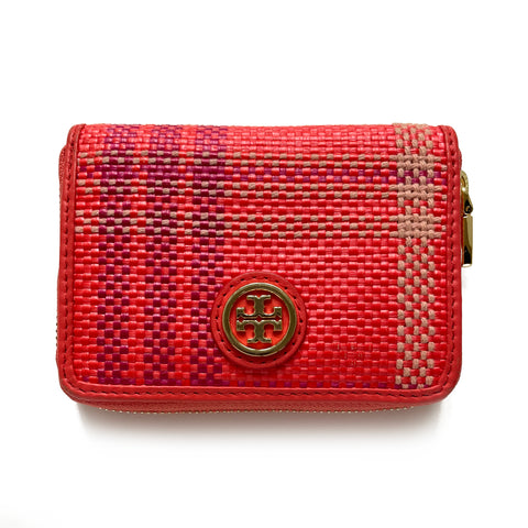 Tory Burch Woven Coral Compact Zip Wallet