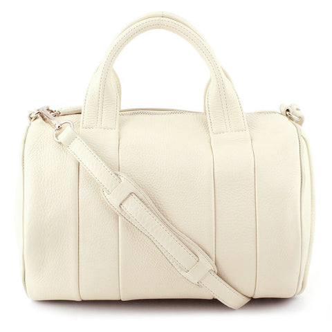 Alexander Wang Stud-Bottom Cream Leather Rocco Duffel