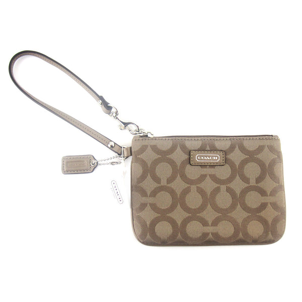 Coach Canvas Wristlet Clutch - Taupe Brown