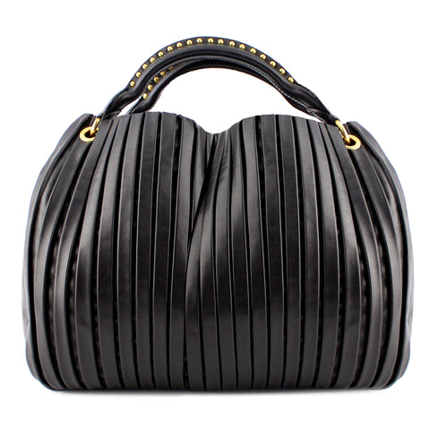 Miu Miu Black Pleated Leather Hobo Bag