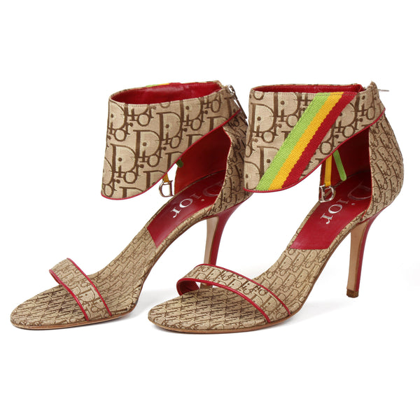 Christian Dior Rasta Stripes Monogram Canvas Sandals sz 40