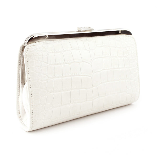 Ralph Lauren Croc-Embossed Ivory Leather Clutch