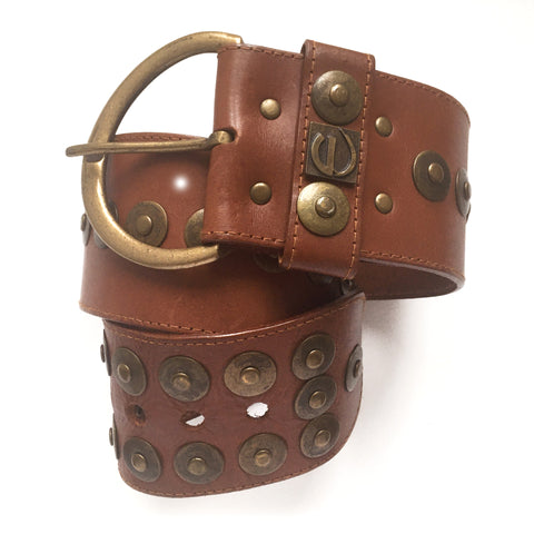 Gloria Vanderbilt Brass Studded Leather Belt XS-S