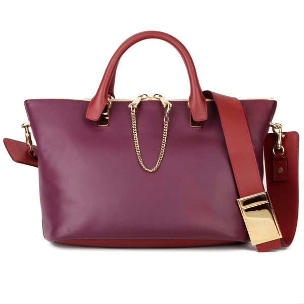 Chloe Baylee Medium Tote Satchel & Shoulder Bag - Burgundy/Plum