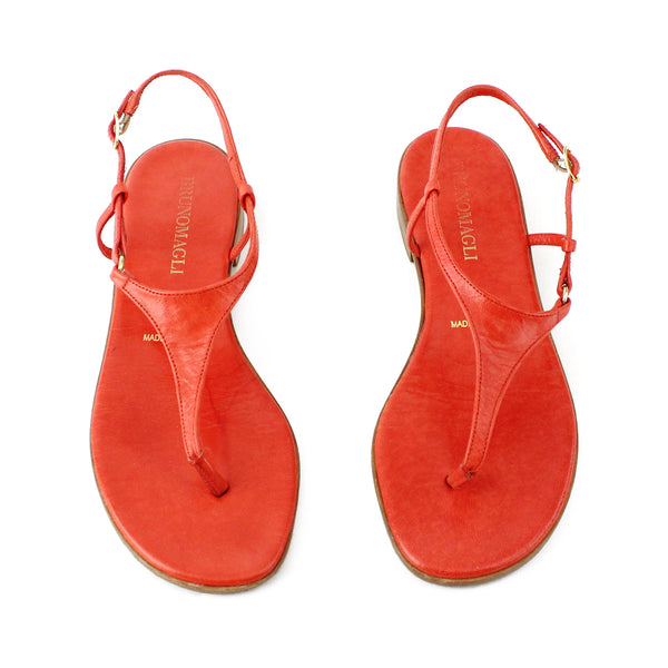 Bruno Magli Coral-Orange Leather Flat Thong Sandals sz 6