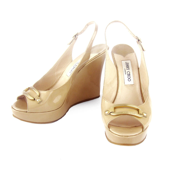 Jimmy Choo Beige Patent Wedge Sandals sz 41