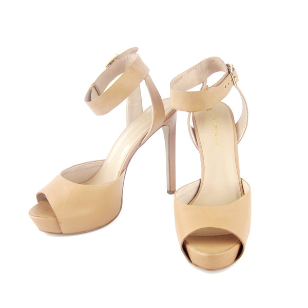 Kurt Geiger Nude Leather Platform Sandals