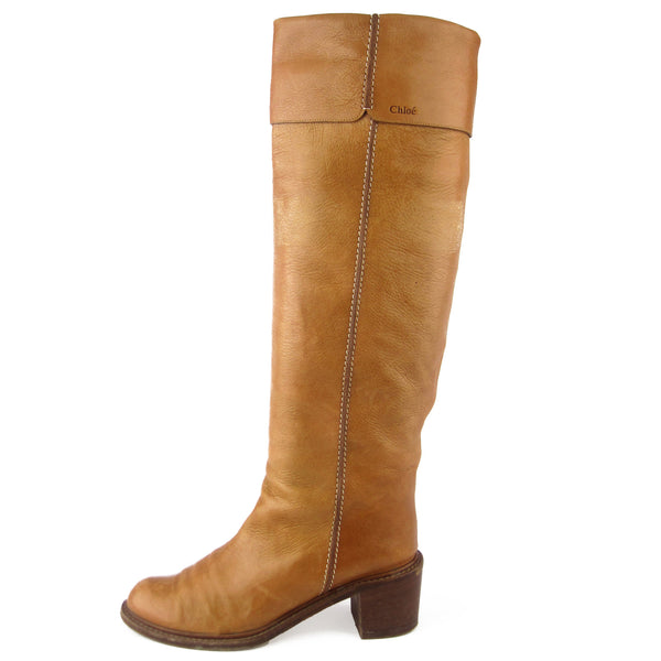 Chloe Tall Tan Leather Boots sz 9.5