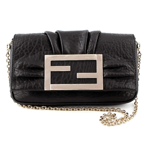 Fendi Mia Small Pleated Leather Chain Shoulder Bag & Clutch