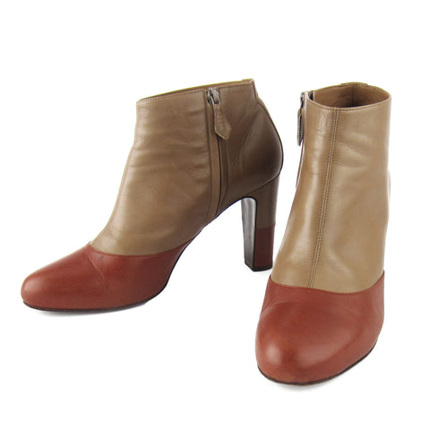 Hermes Two-Tone Leather Booties sz 41