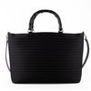 Gucci Vintage Ribbed Canvas Bamboo Tote & Shoulder Bag