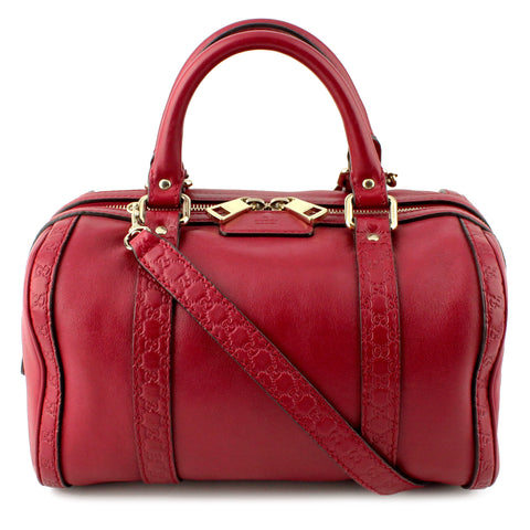 Gucci Guccissima Berry Red Boston Speedy Converible Bag