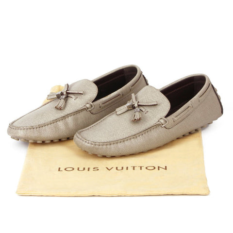 Louis Vuitton Taupe Grey Leather Loafers sz 8
