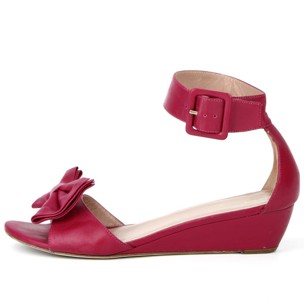 Valentino Raspberry Red Bow Wedge Sandal sz 39