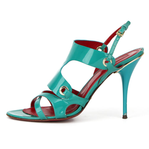 Cesare Paciotti Turquoise Patent Leather Sandals sz 39