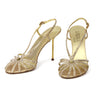 Loriblu Jewel Crystal Strappy Gold Stiletto Sandals sz 38.5