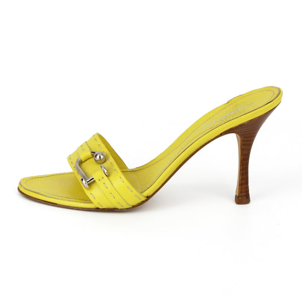 BCBG Maxazria Yellow Leather Mule Sandals sz 38