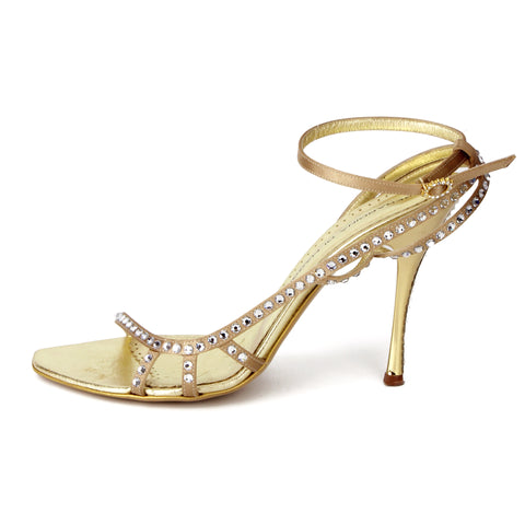 Gerardina Di Maggio Jeweled Crystal Gold Sandals sz 38