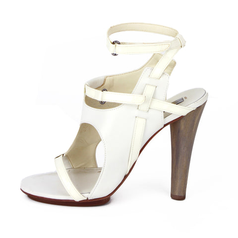 BCBG Maxazria White Modernist Cutout Sandals sz 8
