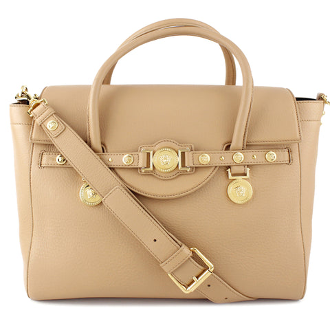 Versace Beige Leather Signature Medusa Tote