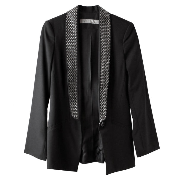 Zara Women's Studded Long Black Blazer Jacket XS