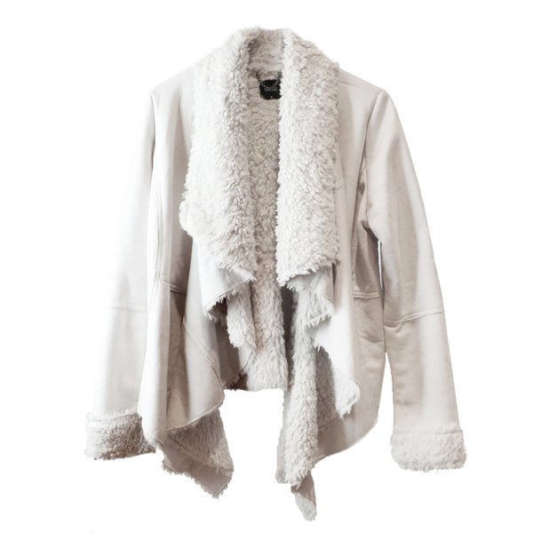 Women's Ivory Faux-Shearling and Suede Shepra Drape Coat Jacket Small / XS-S