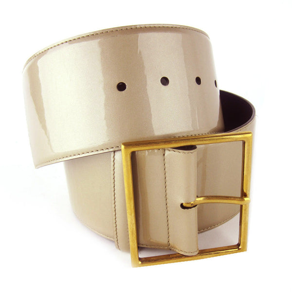 YSL Wide Patent Leather Belt - Beige