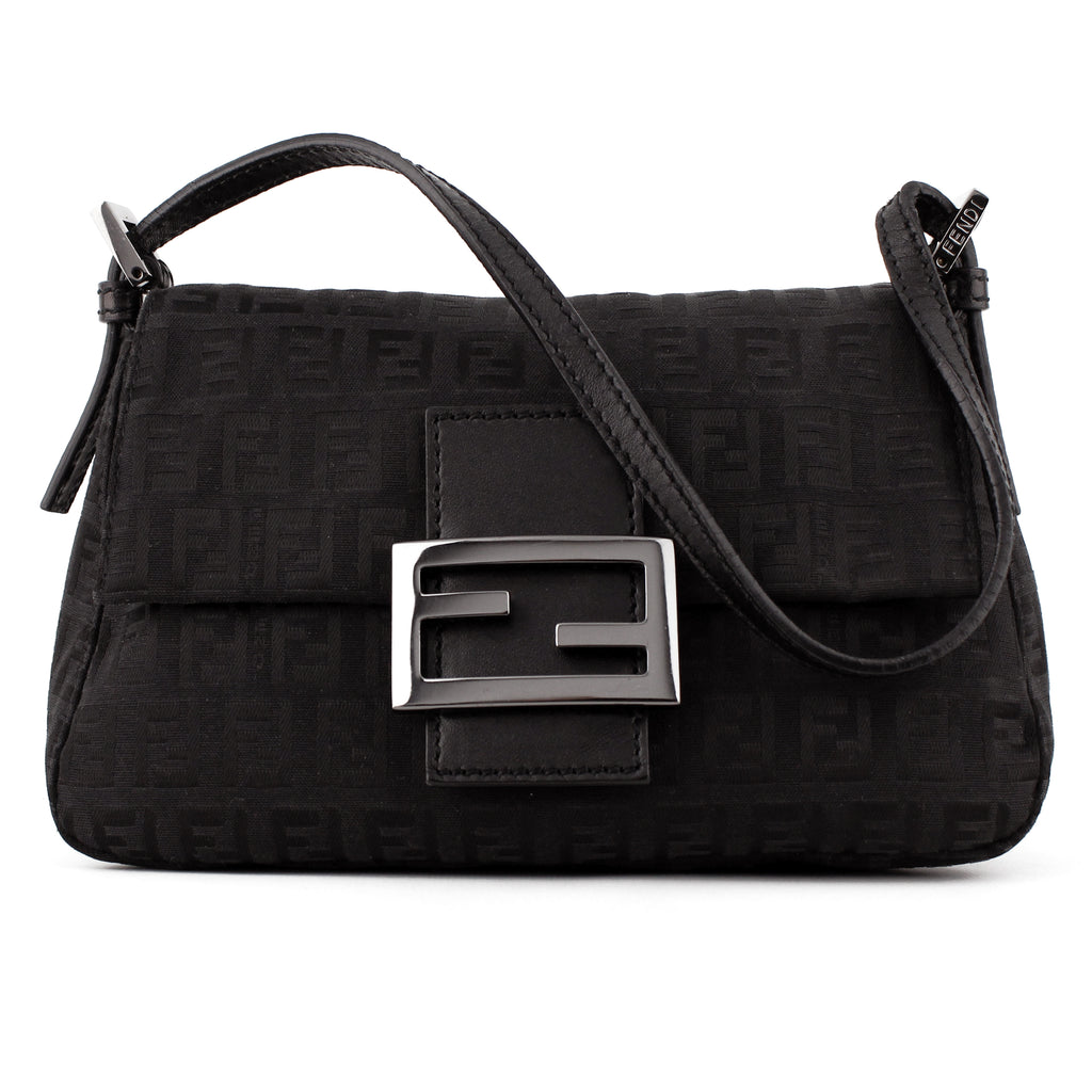 dcf8061a91e0 Fendi Small Black Monogram Canvas Mama Baguette