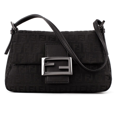Fendi Small Black Monogram Canvas Mama Baguette