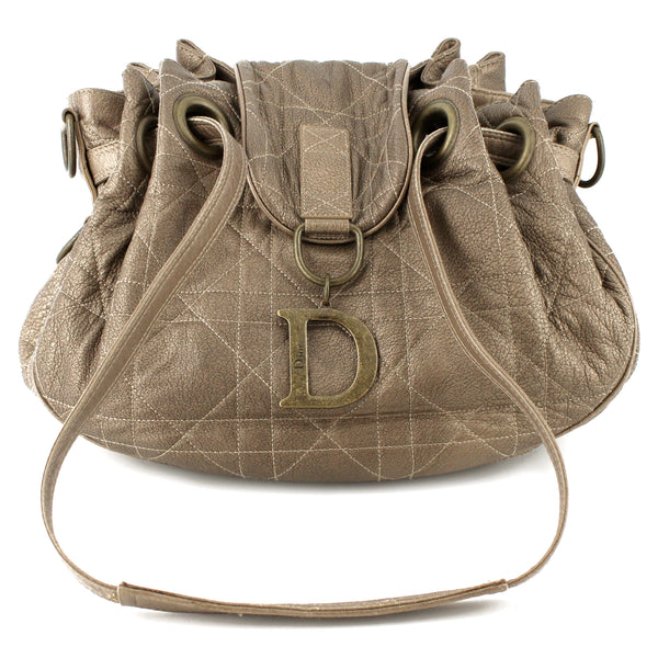 Dior Golden Bronze Metallic Leather Cannage D-Charm Shoulder Bag