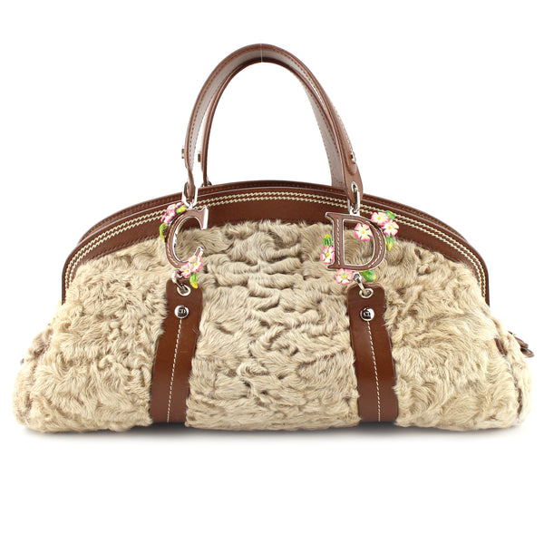 Dior Limited Edition Shearling Detective Flower Satchel