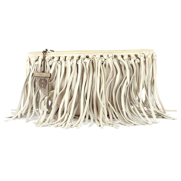 House of Harlowe Ivory Fringe Leather Clutch