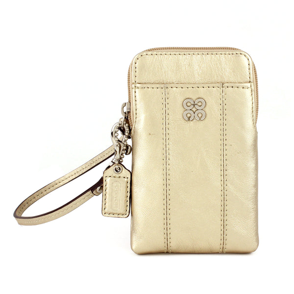 Coach Gold Metallic Leather Universal Wristlet Case Wallet