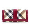 Burberry Novacheck Raspberry Patent Trim Continental Fold Wallet