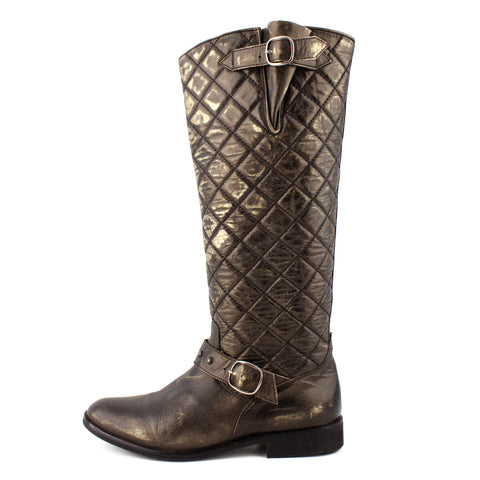 Golden Goose Gold Quilted Leather Tall Buckle Boots sz 38