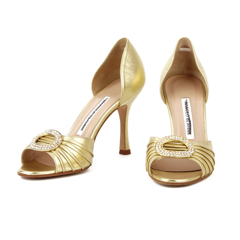 Manolo Blahnik Gold Sedaraby Crystal Jewel Buckle Pumps sz 36 / 6