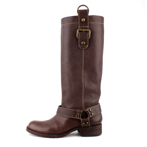 BCBG Maxazria Pebbled Brown Leather Harness Boots sz 8
