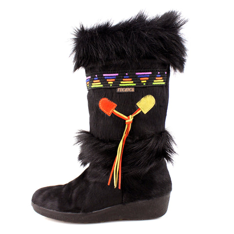 Tecnica Black & Rainbow Detailed Seal Fur Toggle Winter Boots sz 39